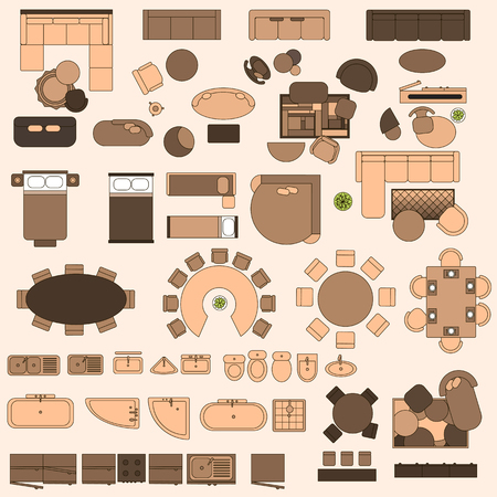 interior layout: Furniture in top view Illustration