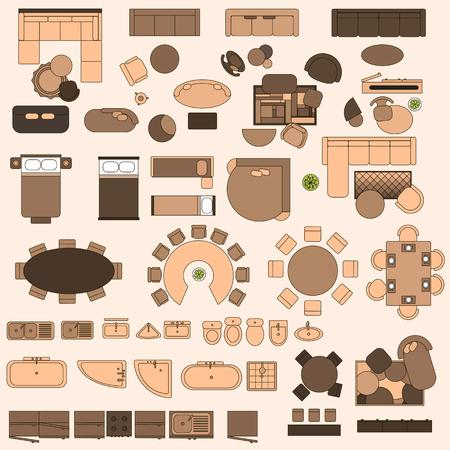 Muebles en la vista superior Ilustración de vector