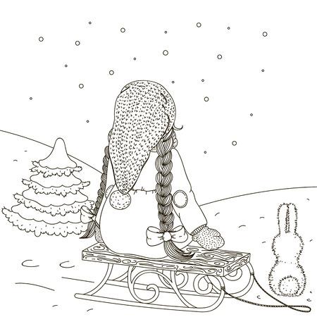 admire: Girl on a sled admires snowfall.