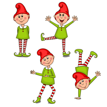 Set funny gnomes. Vector clip-art illustration on a white background Illustration
