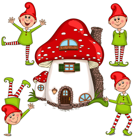 midget: Vector illustration of gnomes and a house. Isolated objects on a white background.