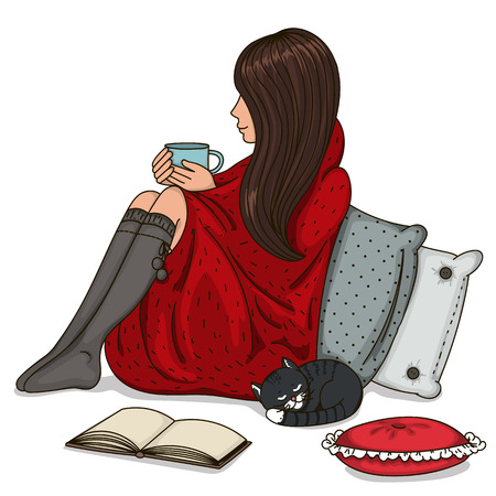 Girl sitting wrapped in a blanket and holding cup. Vector illustration. 矢量图像