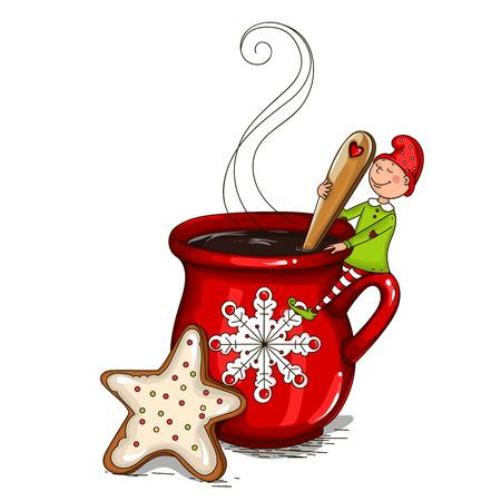 一杯のコーヒーで矮星します。  イラスト・ベクター素材