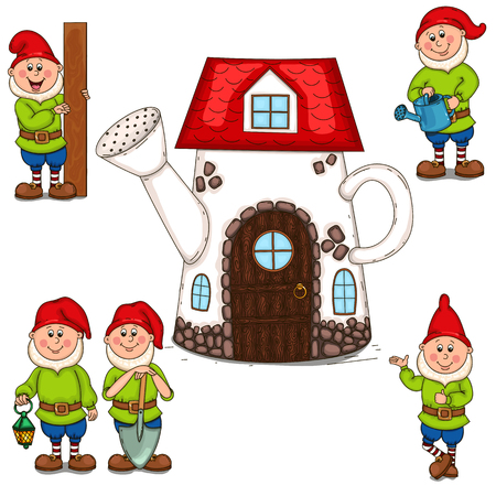 House watering can and garden gnomes.