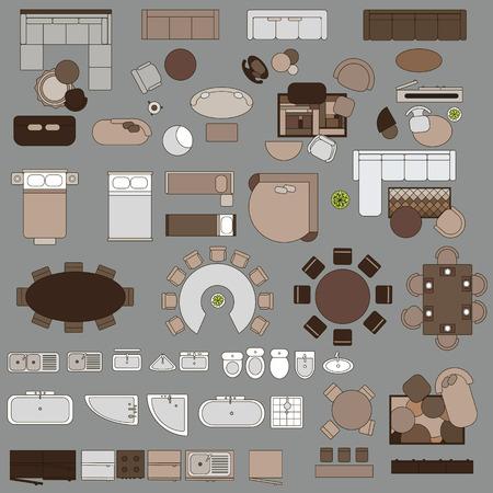 그린 가구의 큰 집합입니다. 고립 된 벡터 객체. 테이블, 의자, 안락 의자, 램프, 침대, 테이블, 카펫 욕실 비데 100 개 이상의 조각을 샤워 소파 일러스트