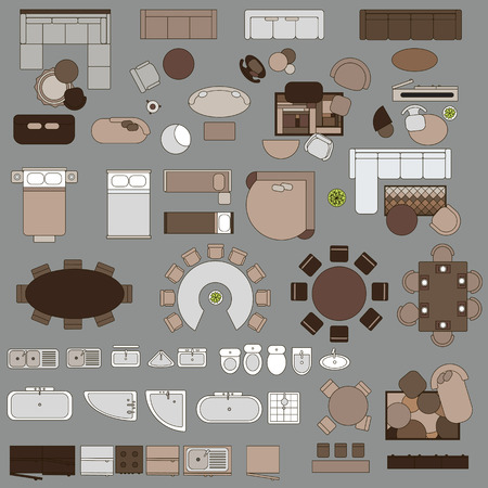 Big set of painted furniture. Isolated vector objects. Tables, chairs, armchairs, lamps, beds, tables, carpets sofas bathrooms shower bidet More than 100 pieces Illustration