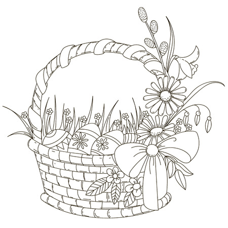 grass weave: Basket with Easter eggs. Isolated outline on a white background. Vector illustration.