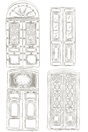 Doors are painted by hand. Vector illustration. Isolated objects on a white background.
