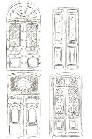 Les portes sont peintes à la main. Illustration vectorielle Objets isolés sur un fond blanc. Vecteurs
