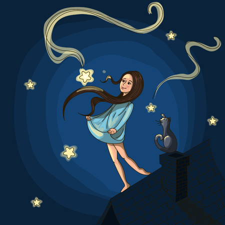 Postcard with inspiration. Fairy tale about the girl with the cat catches a star on the roof. Drawn by hand. The work is divided into layers, you can remove the background and change the color.