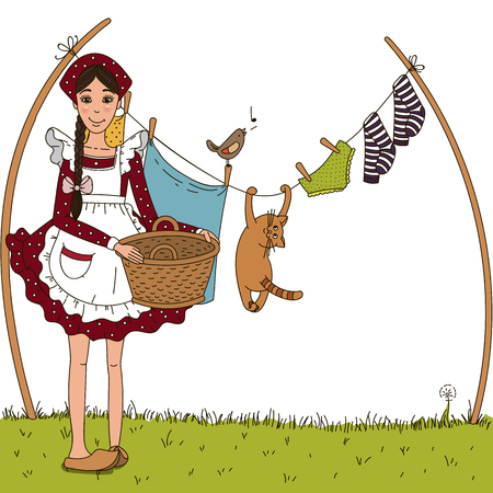 The girl hung laundry on the street. Cat hanging on a clothesline with laundry. Humor. Vector graphics. Childrens story.
