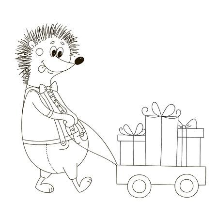Merry hedgehog. Illustration