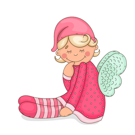 cute baby girls: Vector illustration. Isolated object on a white background. Drawn by hand.