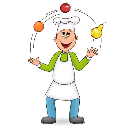 Cook in an apron and cap.
