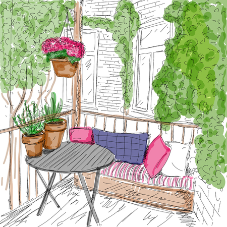 front porch: Vector illustration of balcony with plants. It is drawn by hand. Digital watercolor.