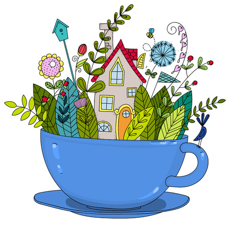 A garden with a house in a cup. Illustration