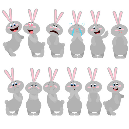 A set of rabbits with different emotions. Illustration