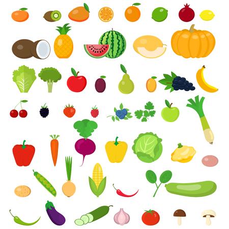 Eine Reihe von Obst und Gemüse. Vektorgrafik