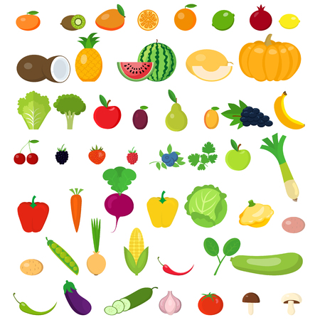 Zestaw owoców i warzyw. Ilustracje wektorowe