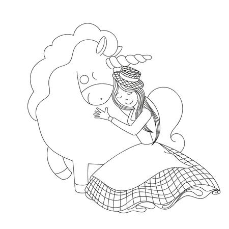 The girl hugs the horse.