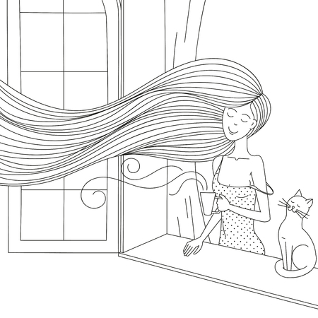 Una niña con un gato junto a la ventana.