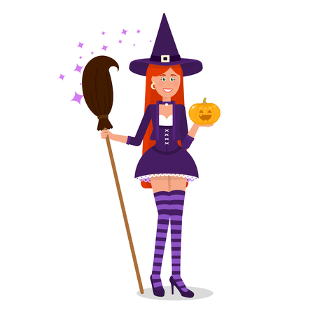 causal: Lovely witch with a broom.