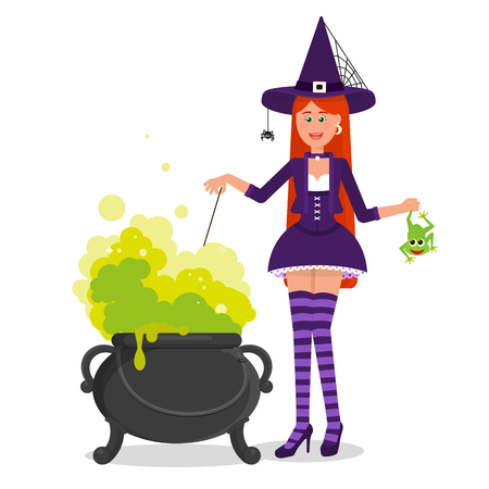 A beautiful witch is brewing a potion in a Boiler.