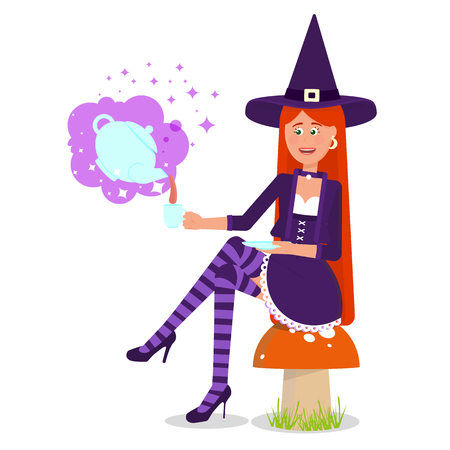 The lovely witch conjured a magic drink.