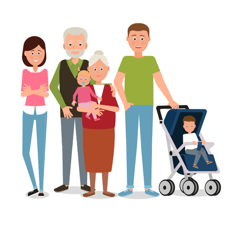 Large family of six people. Complete and happy, vector illustration