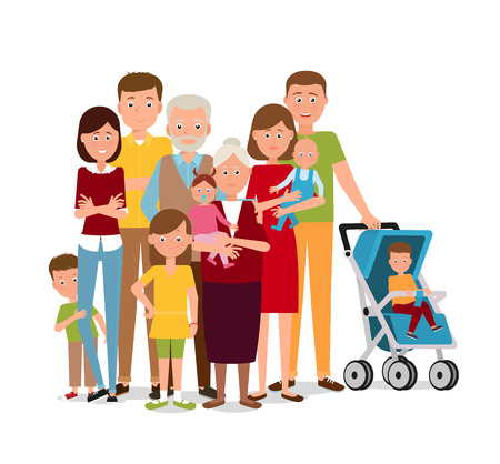 Big family with parents and kids. Illustration