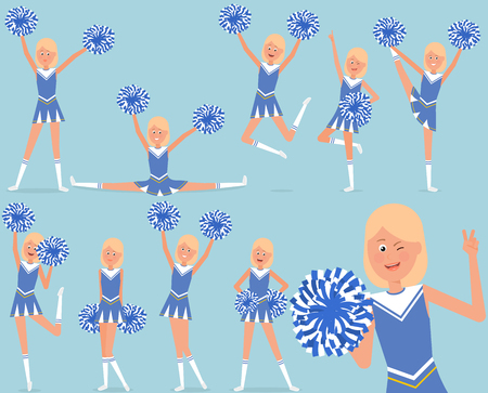Set van een vrolijk cheerleader-personage. Stock Illustratie