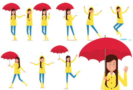 Set of girls holding an umbrella and playing in the rain