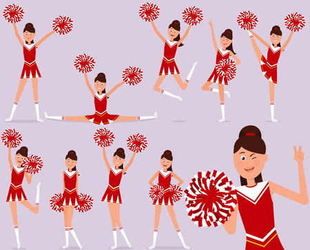 Set of a cheerful cheerleader character. Illustration