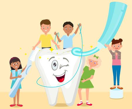 Kinder putzen ihre Zähne