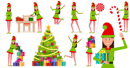 A cheerful girl in a gnome costume. A cartoon character in various poses.Set of vector, isolated objects. Illustration