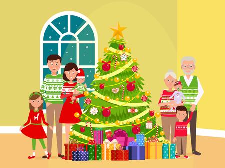 Big happy family at a Christmas tree.