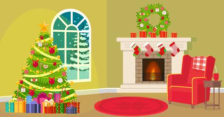 Christmas living room Stock Photo