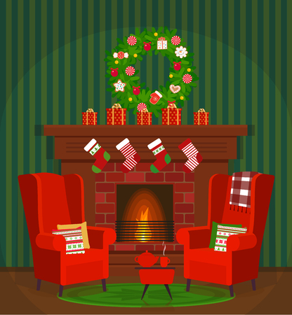 A cozy room with a fireplace, armchairs and hot tea. Illustration