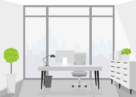 Modern interior design office. Vector illustration. Ilustração