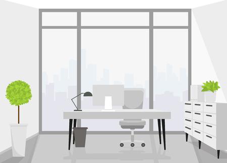 Modern interior design office. Vector illustration. Vettoriali
