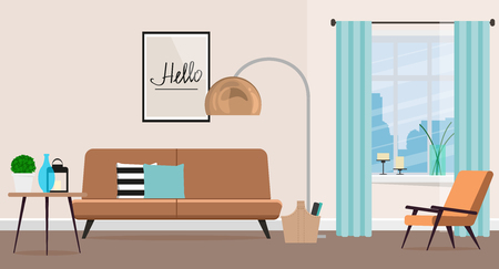 Living room design with fashionable furniture. Flat style Vector illustration. Иллюстрация