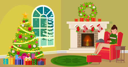 Christmas icons like tree and fireplace Vector illustration. Painted in shape