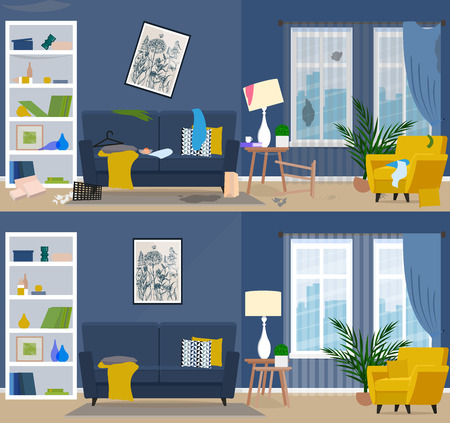Dirty and clean room. Room before and after cleaning. Flat graphic, vector illustration. Stock fotó - 91554068