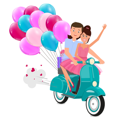 Young couple in love ride a scooter with balloons. Illustration