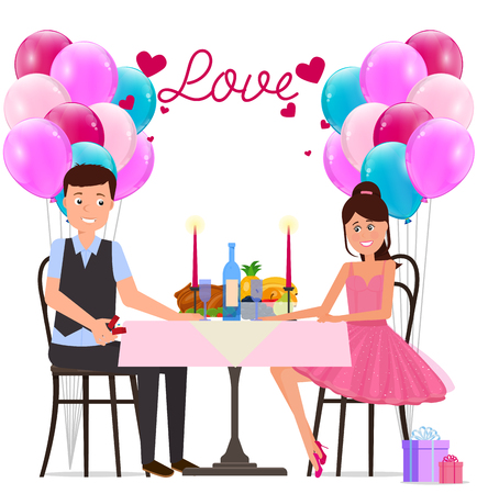 Vector illustration. Painted in shape, man and woman having dinner date surrounded by balloons and hearts and the word Love. Illustration