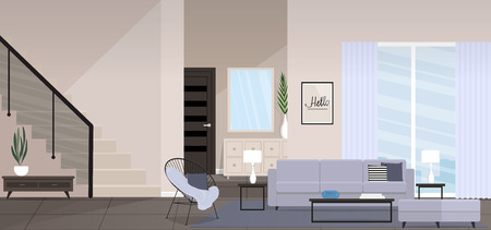 Huge modern living room with modern furniture, stairs, large window vector illustration. Illustration
