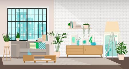 Nowoczesna aranżacja salonu lub przestrzeni biurowej w stylu industrialnym.