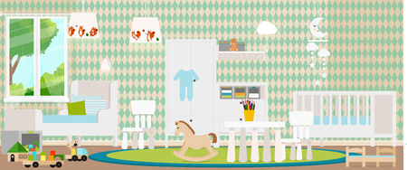 Trendy design of the childrens room. Vector illustration.