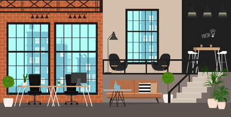 Office interior with tables and chairs, Vector illustration.