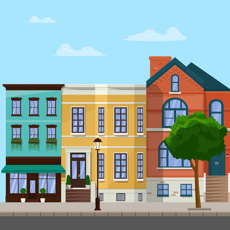 City street with apartment buildings. City architecture. Vector flat illustration.